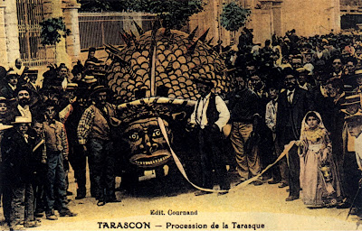 Tarasque festival, 1905 hand-coloured postcard