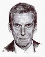 Doctor who peter capaldi ink portrait by natemichaels-d9aaoqq