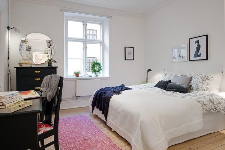 Image - Refreshing-White-Themed-Bedroom-with-Elegant-Black-Wooden ...