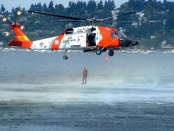 US Coast Guard helicopter rescue demonstration