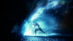 Aquaman holding back a flood
