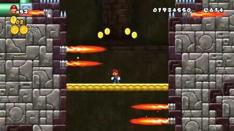 Newer Super Mario Bros Wii World 3-Castle Burnblaze Tower Star Coins