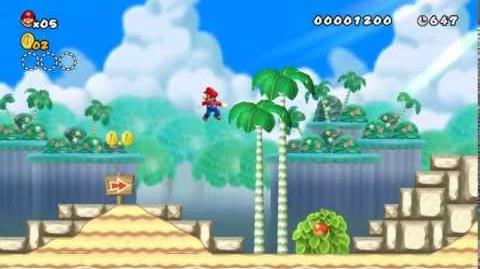 Newer Super Mario Bros Wii World 1-1 Palm Beach Star Coins