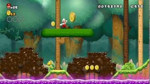 Newer Super Mario Bros Wii World 1-4 Growing Greenwood Star Coins