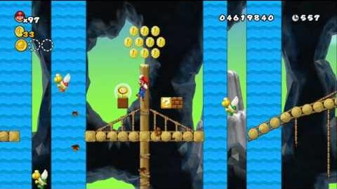 Newer Super Mario Bros Wii World E-2 Fallout Footbridge