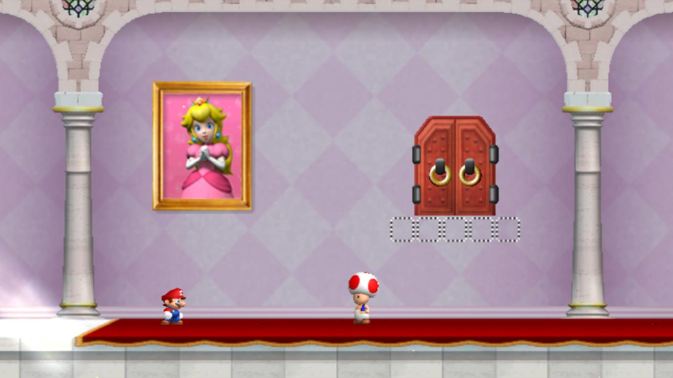 World 1-Peach's Castle (Another Super Mario Bros  Wii