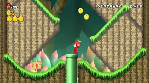 Newer Super Mario Bros Wii Mini Mega Island World B-1 Mighty Meadow Star Coins