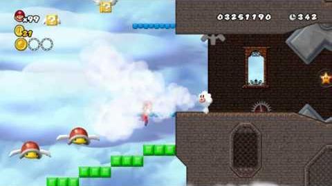 Newer Super Mario Bros Wii World C-4 Sprocket Skies Star Coins
