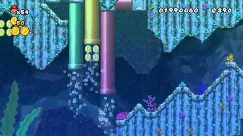 Newer Super Mario Bros Wii World 3-6 Bubble Basin Star Coins