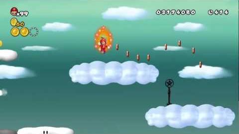 Newer Super Mario Bros Wii World C-2 Nimbus Highway Star Coins