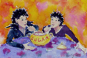 Crow Girls painting-sugar bowl
