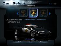 NFSHP2 Car - Lamborghini Diablo VT 6.0 Pursuit PC