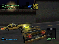 Traffic Caprice Cab in the PSX version of Need for Speed III Hot Pursuit