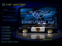 Modified Pursuit Corvette in the garage.