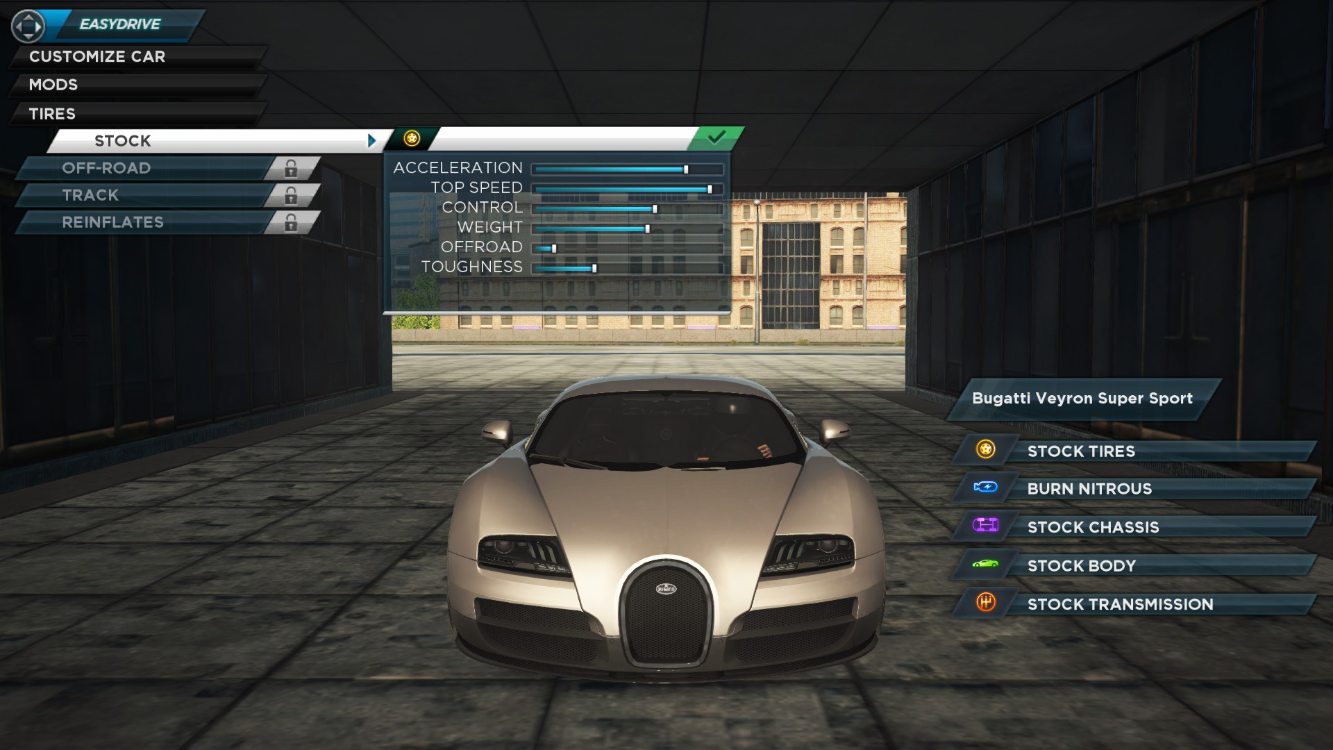 NFSMW2012statsBugattiVeyronSS EasyDrive Is A Compact Menu System Featured In Need For Speed Most Wanted 2012