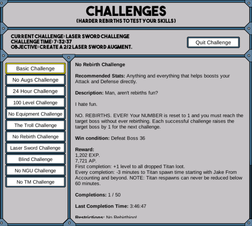 Challenges | NGU Idle Wiki | FANDOM powered by Wikia