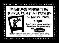 1995 Nick Jr. Primetime Preview Print Ad