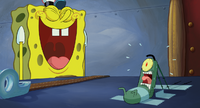 Plankton can't stand SpongeBob's laughing