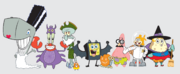 SpongeBob SquarePants Halloween Costume Cast Scaredy Pants Patrick Star Sandy Cheeks Squidward Tentacles Mr. Krabs Sheldon Plankton Mrs. Puff Pearl Krabs Character Image Nickelodeon
