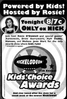 1998 11th Annual Kid's Choice Awards Print Ad