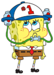 SpongeBob with soda drinking hat stock art