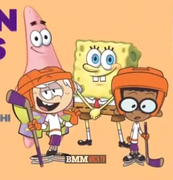 SpongeBob and Patrick with Clincoln McCloud (in their hockey outfits)