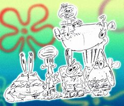 SpongeBob SquarePants characters, original cast sketch by Stephen Hillenburg