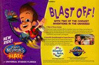 Jimmy Neutrons Nicktoon Blast ride print ad NickMag June July 2003