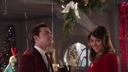 Timmy and Tootie under the mistletoe