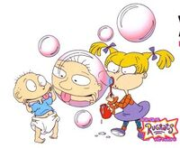 Tommy and Angelica blowing bubbles