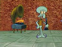 Squidward with his record player