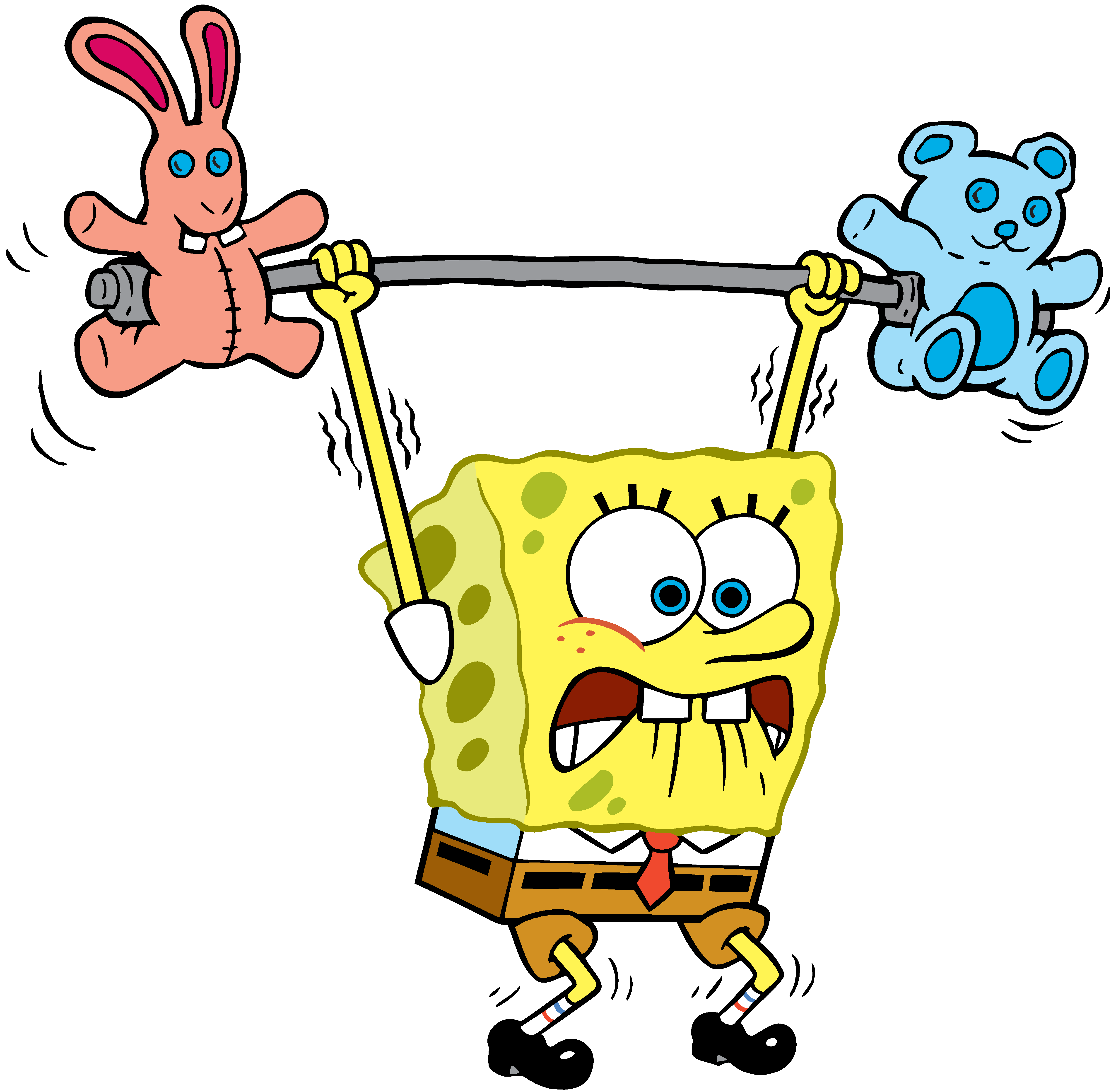 SpongeBob lifting weights stock art
