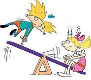 Arnold and Helga on a Sea-saw