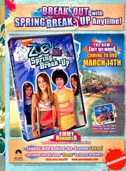 Zoey 101 Spring Break-up DVD print ad NickMag March 2006