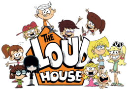 The Loud House logo with Loud siblings