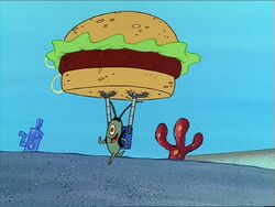 Plankton making off with a Krabby Patty