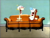 The Big Orange Couch in Ren and Stimpy's house
