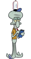 Squidward with a notebook