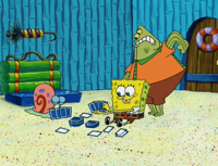 Spongebob and Gary playing cards