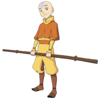 Aang with staff