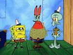 SpongeBob and Squidward interrogate Krabs