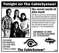 1995 CableSystem The Secret World of Alex Mack ad