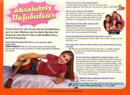Emma roberts interview unfabulous Nickelodeon Magazine Inside Nick October 2004