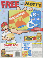 Kids Calling Card Motts print ad Nick Mag Sept 1995