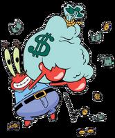 Mr. Krabs with money stock image