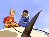 Aang and Katara on Appa