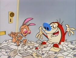 Ren and Stimpy looking at fan mail