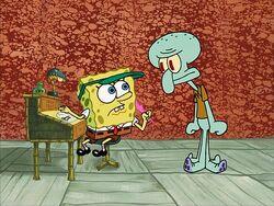 SpongeBob writing Squidward's letter