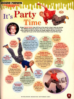 Aaron Carter Interview Nickelodeon Magazine September 2001