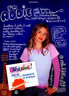 Unfabulous Addie Singer print ad Nick Mag Presents Nov 2004